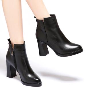 真皮高跟防水台短靴女单靴2018秋冬欧洲站厚底粗跟女靴马丁靴