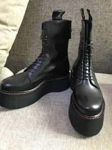 8折 R13 Black Platform Lace-Up Boots 松糕靴