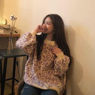 秋装宽松慵懒长袖套头毛衣复古chic甜美豹纹针织衫上衣女
