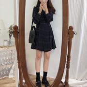 秋装女装气质格纹收腰长袖连衣裙衬衫裙复古显瘦高腰中长裙