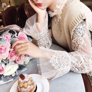 秋冬季大码长袖镂空蕾丝打底衫女士薄款透视内搭网纱超仙立领上衣