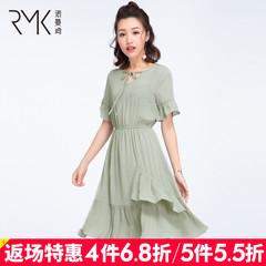 诺曼琦女装时尚系带喇叭袖连衣裙2018夏季高腰V领雪纺荷叶裙