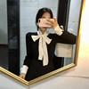 秋冬季黑色长袖T恤蝴蝶结绑带上衣气质打底衫女