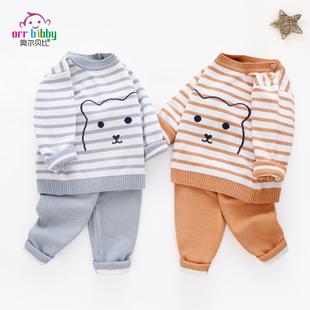 婴儿毛衣秋冬装男女宝宝双层针织衫套装新生儿童棉纱线衣厚款外套