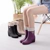 时尚雨鞋女加绒保暖中筒雨靴防滑坡跟水鞋轻便短筒水靴套鞋胶鞋女