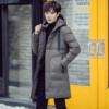 青年男士冬季棉衣加厚连帽中长款羽绒棉袄棉服外套男