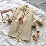 冬装2018女装呢子外套百搭西装领中长款长袖毛呢外套大衣