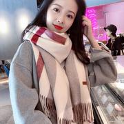 简约风韩国围巾女秋冬季格子仿羊绒披肩两用加厚长款围脖保暖
