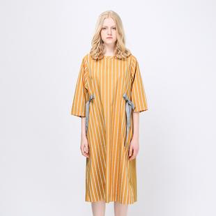 飞鸟和新酒 森系简约纯棉条纹中袖连衣裙女2018秋装AG