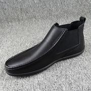 2018秋冬季瘦版男鞋潮流套筒高帮皮鞋保暖加绒真皮二棉鞋