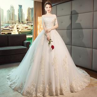 主轻婚纱礼服2018新娘一字肩法式拖尾公主梦幻冬季超仙森系女