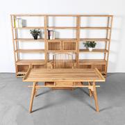 老榆木免漆茶桌椅组合实木家具茶室茶桌仿古茶台新中式禅意泡茶几