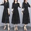 法式黑色碎花波点雪纺连衣裙女2021夏季收腰显瘦气质大码长裙