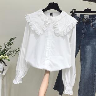 2018秋冬拼接木耳边长袖白色衬衫女宽松上衣大翻领娃娃衫衬衣