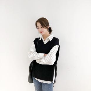 K姐自制 衬衫两件套 色织条纹衬衣英伦斜纹纯色V领马甲套装上衣女