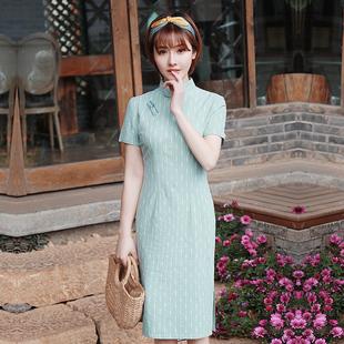 依莱娜旗袍女子中长款棉旗袍裙女改良中国风少女款旗袍连衣裙