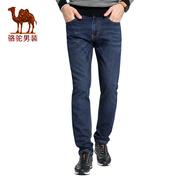 骆驼男装秋冬季时尚宽松弹力直筒牛仔裤男大码商务长裤子