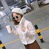 秋冬女装短款糖果色麂皮短款百搭时尚机车外套6908