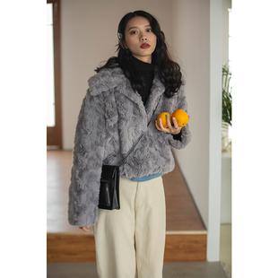红人馆仿兔毛外套女装秋冬季2018短款气质加厚毛绒上衣潮