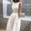 春装2019款女裙子夏连衣裙黑白色心机设计款长裙冷淡风背心裙