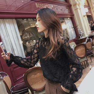 谜秀蕾丝衫女2018秋冬装气质超仙内搭上衣chic打底衫