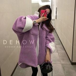 2018韩国东大门羊羔毛外套女冬拼接撞色袖大码宽松工装翻领羊