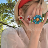 简约百搭夸张大颗水钻宝石彩色梅花花朵戒指夏季可爱减龄神仙配饰