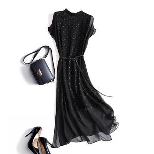 商场1000+外层真丝 波点假两件温柔风连衣裙收腰桑蚕丝气质小裙子
