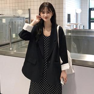 夏季宽松显瘦黑色西装外套女士2019百搭中长款小西服