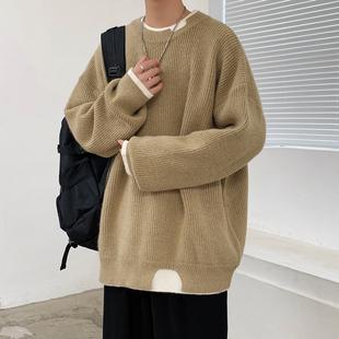 秋季厚款毛衣男士潮牌宽松圆领针织衫韩版休闲假两件百搭学生外套