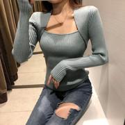 冬季显瘦加厚打底衫长袖百搭方领纯色性感上衣毛衣女