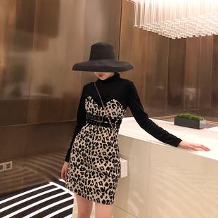 拼接假两件连衣裙小香风法式气质高冷女装2018秋冬豹纹打底裙