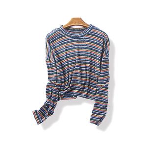 春秋季女装条纹长袖T恤冬季内搭圆领打底衫1月5日
