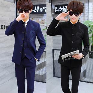 西服套装男士刺绣学生西服外套立领小西装中山装青少年三件套
