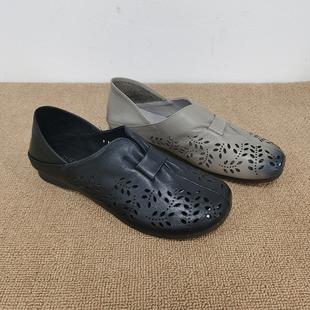 妈妈凉鞋断码处理2021年夏季英伦风镂空透气软皮软底套脚真皮单鞋