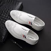 男士布洛克皮鞋白色英伦风雕花休闲鞋子韩版潮流青年男鞋商务正装