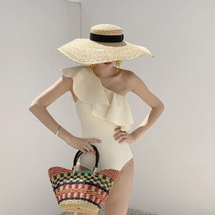 韩国ins复古法式荷叶边性感单肩少女连体温泉泳衣遮肚度假比基尼