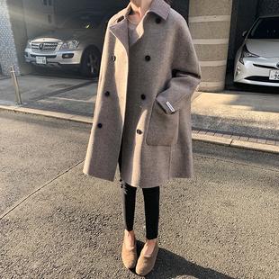 双面羊绒大衣女2018冬季中长款高端羊毛宽松A字毛呢外套
