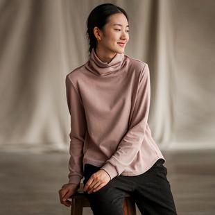 牧衣原创设计女装棉质弹性高领百搭打底衫女秋冬内搭上衣T恤 谷雨