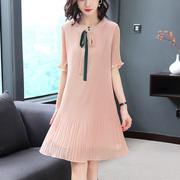 百褶雪纺连衣裙2019夏很仙的法国小众桔梗裙超仙森系法式复古