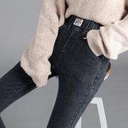 高腰牛仔裤女士长裤2021春秋季韩版松紧腰修身显瘦小脚铅笔裤