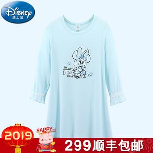 迪士尼2018三内衣米妮系列女童长袖睡裙儿童加厚莫代尔睡裙