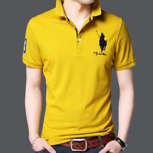 男士短袖t恤带领夏季冰丝光棉丅桖有刺绣保罗运动polo衫潮流衣服
