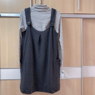 孕期哺乳背带裙春秋出口日本孕妇装高领低领内搭T恤背心裙两件套