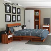 现代简约板式床1.5 1.8m储物床租房家具经济型卧室家具套装组合