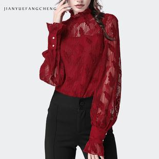 2019春蕾丝衫上衣女雪纺衫立领镂空长袖打底衫衬衫遮肚子欧货小衫