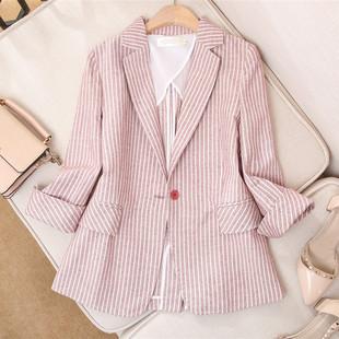 西装外套女2019夏季粉色条纹棉麻网红小西装薄款
