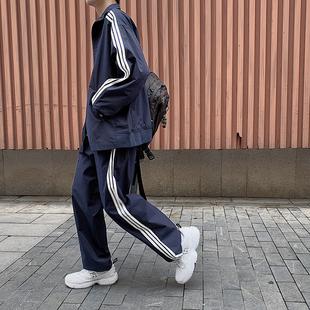 学院风校服2021春秋bf风宽松三条杠外套运动两件套装学生男女