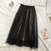 实1月3日百褶裙两面穿波点网纱半身裙中长款大摆蓬蓬裙女