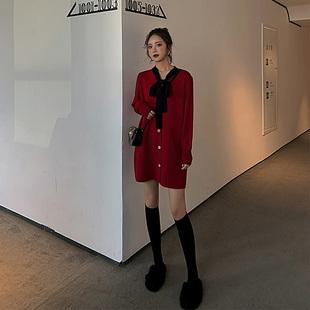 赫本法式复古裙子山本风超仙红色高腰法国小众针织连衣裙秋冬女装